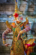13 JANUARY 2013 - BANGKOK, THAILAND:  A boy in a formal Thai costume dances a scene from the Ramayana as Hanuman, the Monkey God, at an artists' space in the Bang Luang neighborhood. The Bang Luang neighborhood lines Khlong (Canal) Bang Luang in the Thonburi section of Bangkok on the west side of Chao Phraya River. It was established in the late 18th Century by King Taksin the Great after the Burmese sacked the Siamese capital of Ayutthaya. The neighborhood, like most of Thonburi, is relatively undeveloped and still criss crossed by the canals which once made Bangkok famous. It's now a popular day trip from central Bangkok and offers a glimpse into what the city used to be like.     PHOTO BY JACK KURTZ