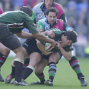 Twickenham, Surrey, 16th March 2003, Zurich Premiership Rugby, The Stoop Memorial Ground, England, [Mandatory Credit; Peter Spurrier/Intersport Images]<br /> 16/03/2003<br /> Sport - Rugby  Zurich Premiership <br /> London Irish v Harlequins<br /> Barry E3veritt is caught with the ball by Ben Gollings.