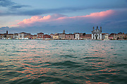 View of Dorsoduro district in the evening seen from Giudecca Island. Venice Italy, Europe