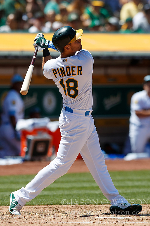 OAKLAND, CA - JUNE 17: Chad Pinder #18 of the Oakland Athletics at bat against the Los Angeles Angels of Anaheim during the sixth inning at the Oakland Coliseum on June 17, 2018 in Oakland, California. The Oakland Athletics defeated the Los Angeles Angels of Anaheim 6-5 in 11 innings. (Photo by Jason O. Watson/Getty Images) *** Local Caption *** Chad Pinder