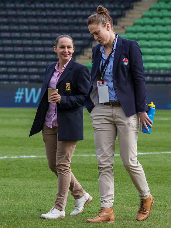 Assistant referees Nikki O'Donnell and Sara Cox before the match, England Women v Scotland Women in a 6 Nations match at Twickenham Stoop, London, England, on 11th March 2017 Final Score  64-0