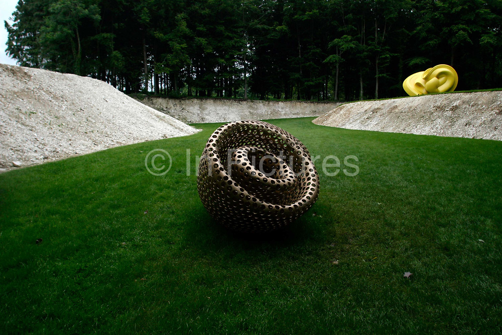 """A sculpture called """"Tongue in Cheek"""" by Stephen Cox in the Goodwood Sculpture Park, Sussex, UK"""