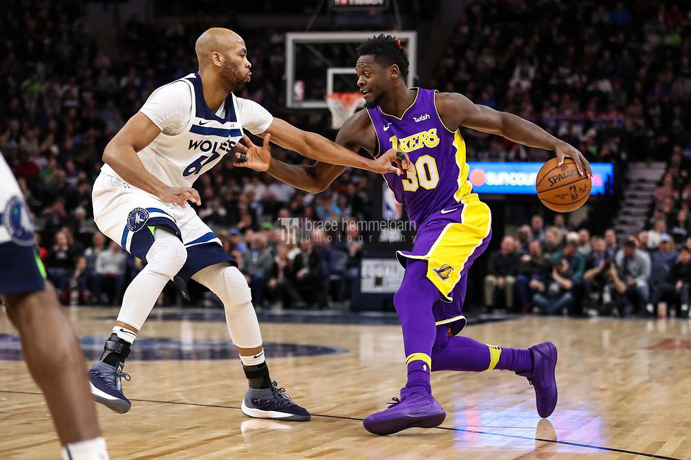 Feb 15, 2018; Minneapolis, MN, USA; Los Angeles Lakers forward Julius Randle (30) and Minnesota Timberwolves forward Taj Gibson (67) at Target Center. Mandatory Credit: Brace Hemmelgarn-USA TODAY Sports