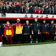 Galatasaray's players during their Turkish Super League soccer match Galatasaray between Genclerbirligi at the TT Arena at Seyrantepe in Istanbul Turkey on Friday, 08 March 2013. Photo by Aykut AKICI/TURKPIX