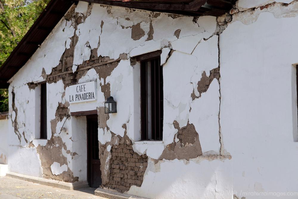 South America, Chile, Santiago. Earthquake damage at Santa Rita Winery.