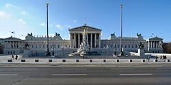 THEMENBILD - Parlament an einen Sonnentag im Jaenner. Der Bau des Parlaments, damals Reichsrat genannt, begann 1861 unter Architekt Theophil Hansen und wurde 1883 fertiggestellt.  das Bild wurde am 25. Jaenner 2012 aufgebommen, im Bild leere Strassen vor Parlament, blauer Himmel, AUT, EXPA Pictures © 2012, PhotoCredit: EXPA/ M. Gruber