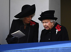 The Duchess of Cornwall and Queen Elizabeth II during the remembrance service at the Cenotaph memorial in Whitehall, central London, on the 100th anniversary of the signing of the Armistice which marked the end of the First World War.