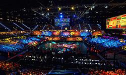 03-10-2015 NED: Volleyball European Championship Semi Final Nederland - Turkije, Rotterdam<br /> Nederland verslaat Turkije in de halve finale met ruime cijfers 3-0 / Een goed gevuld Ahoy met 7000 Oranje support kregen eerst een lasershow te zien