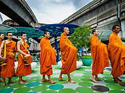 26 JULY 2018 - BANGKOK, THAILAND:  Buddhist monks a merit making ceremony in the Pathumwan area of Bangkok to honor Thai King His Majesty King Maha Vajiralongkorn Bodindradebayavarangkun on his 66th birthday. The King's birthday is 28 July, events are scheduled throughout Thailand to honor His Majesty. The Pathumwan merit making was organized by businesses in the area.       PHOTO BY JACK KURTZ
