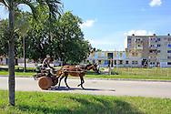 Horse cart in Puerto Esperanza, Pinar del Rio, Cuba.
