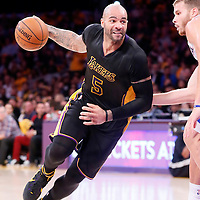 31 October 2014: Los Angeles Lakers forward Carlos Boozer (5) drives past Los Angeles Clippers forward Blake Griffin (32) during the Los Angeles Clippers 118-111 victory over the Los Angeles Lakers, at the Staples Center, Los Angeles, California, USA.
