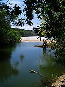A lagoon along the shore at Punta Uva, Limon, Costa Rica