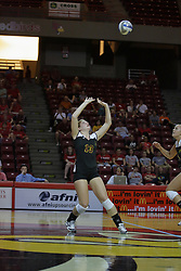 31 Aug 2010: Natalie Fiore sets the ball to the front row. The Illinois State Redbirds trumped the Rambles of Loyola-Chicago 3 sets to none at Redbird Arena on the campus of Illinois State University in Normal Illinois.