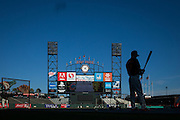 San Francisco Giants second baseman Kelby Tomlinson (37) swings his bat during batting practice before Game 3 of the NLDS against the Chicago Cubs at AT&T Park in San Francisco, Calif., on October 10, 2016. (Stan Olszewski/Special to S.F. Examiner)