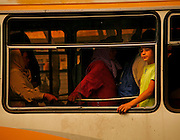 A boy on a city bus in Fes, Morocco looks out of the window during  his ride on Saturday afternoon, June 02, 2007. (PHOTO BY TIMOTHY D. BURDICK)