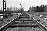 Järnvägsräls i Södermanland. Gammal sträckning mot Eskilsstuna.
