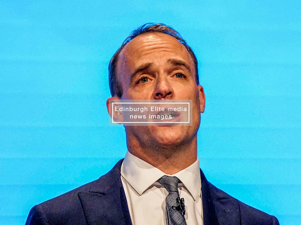 Pictured :  Dominic Raab, First Secretary of State and Secretary of State for Foreign and Commonwealth Affairs    speaks  to delegates   on the first day at the Conservative Party Conference<br /> <br /> <br /> Giannis Alexopoulos   EEm 29/09/2019