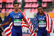 Anthony Schwartz (USA) wins the Silver Medal and Eric Harrison (USA) wins the Bronze Medal in 100 Metres Men during the IAAF World U20 Championships 2018 at Tampere in Finland, Day 2, on July 11, 2018 - Photo Julien Crosnier / KMSP / ProSportsImages / DPPI