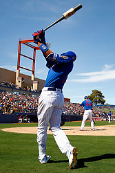 March 18, 2018 - Las Vegas, NV, U.S. - LAS VEGAS, NV - MARCH 18: Kris Bryant (17) of the Cubs warms up in the on-deck circle as Anthony Rizzo (44) gets ready to hit during a game between the Chicago Cubs and Cleveland Indians as part of Big League Weekend on March 18, 2018 at Cashman Field in Las Vegas, Nevada. (Photo by Jeff Speer/Icon Sportswire) (Credit Image: © Jeff Speer/Icon SMI via ZUMA Press)