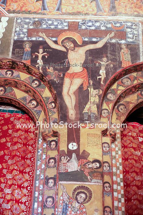 Africa, Ethiopia, Gondar Painted ceiling in the Church of Debre Birhan Selassie religious art paintings