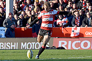 Gloucester centre / fly-half Billy Twelvetrees kick for a conversion during the Aviva Premiership match between Gloucester Rugby and Wasps at the Kingsholm Stadium, Gloucester, United Kingdom on 24 February 2018. Picture by Alan Franklin.