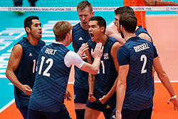 11-08-2019 NED: FIVB Tokyo Volleyball Qualification 2019 / Netherlands - USA, Rotterdam<br /> Final match pool B in hall Ahoy between Netherlands vs. United States (1-3) and Olympic ticket  for USA / Micah Christenson #11 of USA
