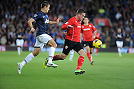 Andrew Taylor of Cardiff City is chased down by Javier Hernandaz of Manchester United.<br /> Barclays Premier League match, Cardiff city v Manchester Utd at the Cardiff city stadium in Cardiff, South Wales on Sunday 24th Nov 2013.