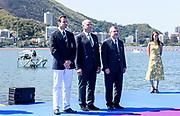 "Rio de Janeiro. BRAZIL.   2016 Olympic Rowing Regatta. Lagoa Stadium, [L] FISA President, Jean-Christophe Rolland,  [C] XXXXXX , [R] IOC President Thomas BACH,<br /> Copacabana,  ""Olympic Summer Games""<br /> Rodrigo de Freitas Lagoon, Lagoa.   Saturday  13/08/2016 <br /> <br /> [Mandatory Credit; Peter SPURRIER/Intersport Images]"