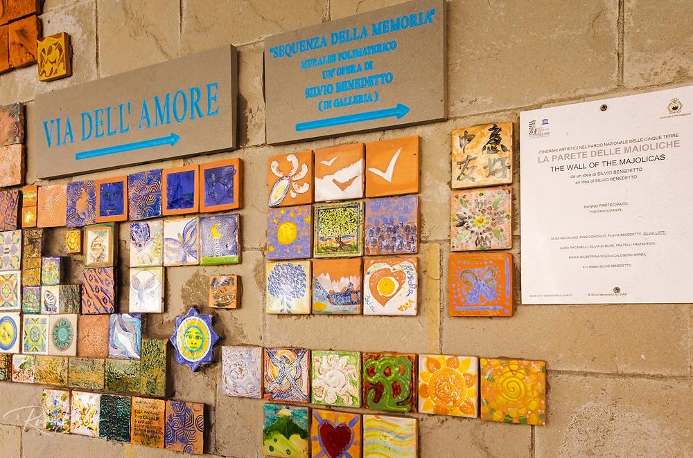 The Wall of the Majolicas on the Via dell'Amore, Riomaggiore, Cinque Terre, Liguria, Italy