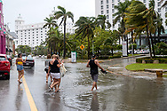 Tourists evacuate the hotel zone due to the tropical storm Gamma that made landfall in Tulum, which caused several damages due to continuous rains and floods in different parts of Quintana Roo. Red Alert was declared in several Municipalities of the Mexican Caribbean, so authorities enabled shelters for people in vulnerable situations. (Photo by Rodolfo Flores/Speed Media)