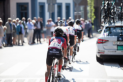 Coryn Rivera (USA) of Team Sunweb regains contact with the peloton during the Amstel Gold Race - Ladies Edition - a 126.8 km road race, between Maastricht and Valkenburg on April 21, 2019, in Limburg, Netherlands. (Photo by Balint Hamvas/Velofocus.com)