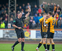 Cove Rangers Mitchel Megginson brought down by Berwick Rangers Ross Brown who got a red card from ref John McKendrick. half time : Berwick Rangers 0 v 1 Cove Rangers, League Two Play-Off Second Leg played 18/5/2019 at Berwick Rangers Stadium Shielfield Park.