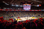 Fans celebrate the Golden State Warriors making an offensive run against the LA Clippers during the second quarter at Oracle Arena in Oakland, Calif., on January 28, 2017. (Stan Olszewski/Special to S.F. Examiner)