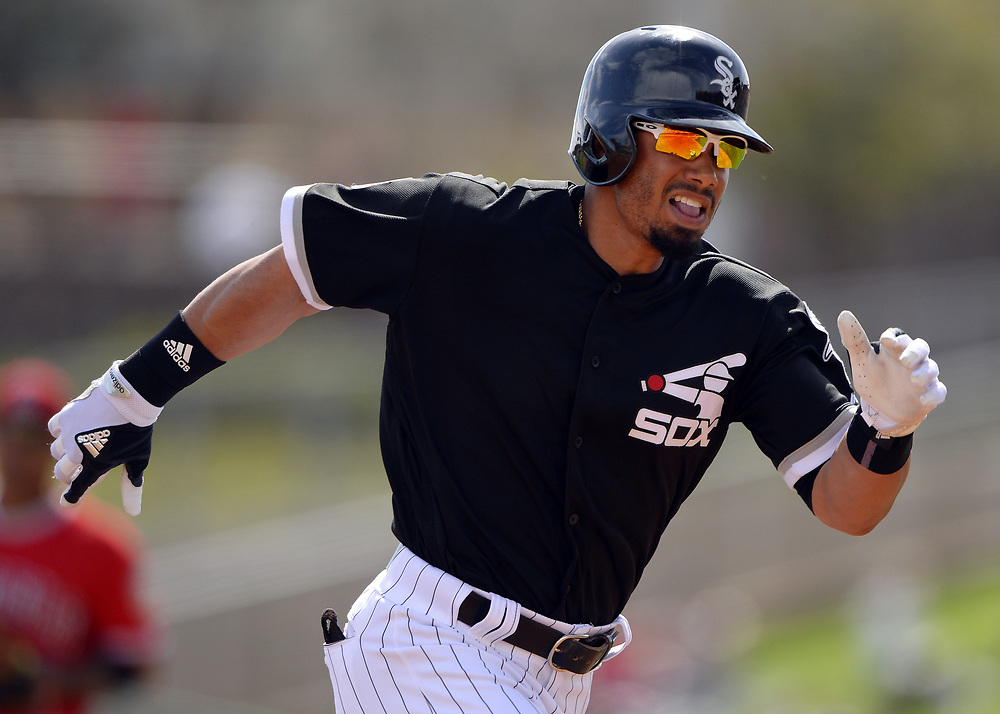 GLENDALE, ARIZONA - MARCH 4:  Jacob May #64 of the Chicago White Sox runs the bases during the spring training game against the Los Angeles Angels of Anaheim on March 4, 2017 at Camelback Ranch in Glendale Arizona.  (Photo by Ron Vesely)   Subject:  Jacob May