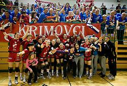 Players of Krim after the handball Slovenian cup Finals match  between RK Olimpija and RK Krim Mercator, on March 28, 2010, SD Leon Stukelj, Novo mesto, Slovenia. Krim defeated Olimpija 28-25 and became Slovenian cup Champion. (Photo by Vid Ponikvar / Sportida)