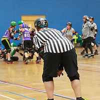 Nottingham Roller Girls face North Wales Roller Derby in the Semi Finals of the Tier 2 WFTDA British Champs Playoffs 2019 at Fenton Manor Sports Complex, Stoke-on-Trent, 2019-09-22