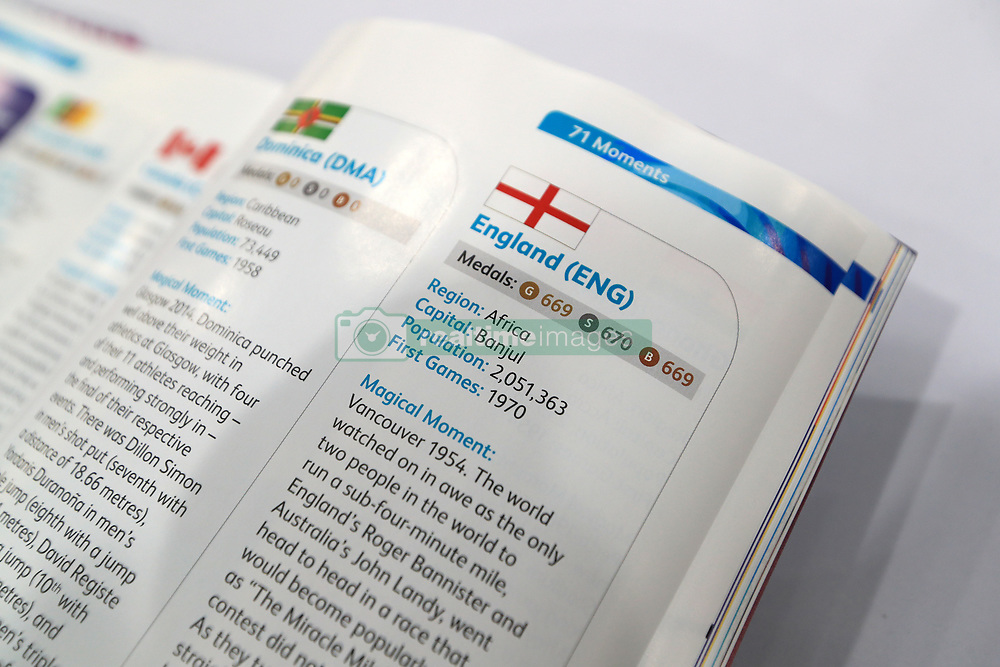 A view of the programme for the Opening Ceremony of the 2018 Commonwealth Games where England is listed as an African nation. PRESS ASSOCIATION Photo. Picture date: Tuesday April 3, 2018. It emerged just ahead of Wednesday's opening ceremony for the event, which runs until April 15, that the booklet features the embarrassing error. See PA story COMMONWEALTH England Programme. Photo credit should read: Mike Egerton/PA Wire. RESTRICTIONS: Editorial use only. No commercial use. No video emulation