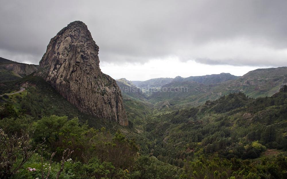 Roque de Agando, one of Los Roques - Phonolite past volcanic vents in Garajonay National Park, La Gomera, Canary Islands