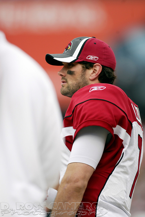 Arizona Cardinals quarterback Matt Leinert watches the action from the sidelines during the first quarter of an NFL football game, Sunday, Dec. 24, 2006 at Candlestick Park in San Francisco. The Cardinals won, 26-20. (D. Ross Cameron/The Oakland Tribune)