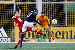 September 22, 2018 - Foxborough, MA, U.S. - FOXBOROUGH, MA - SEPTEMBER 22: New England Revolution midfielder Luis Caicedo (27) gets a shot away as Chicago Fire midfielder Dax McCarty (6) arrives late during a match between the New England Revolution and the Chicago Fire on September 22, 2018, at Gillette Stadium in Foxborough, Massachusetts. The teams played to a 2-2 draw. (Photo by Fred Kfoury III/Icon Sportswire) (Credit Image: © Fred Kfoury Iii/Icon SMI via ZUMA Press)