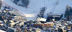 15.01.2013, Schladming, AUT, FIS Weltmeisterschaften Ski Alpin, Schladming 2013, Vorberichte, im Bild das WM-Zielstadion mit voestalpine skygate, Planet Planai, Hotel Planai, Hohenhaus Tenne und Zuschauertribünen am 15.01.2013 // Finish area Planai with voestalpine skygate, Planet Planai, Hotel Planai, Hohenhaus Tenne and tribunes on 2013/01/15, preview to the FIS Alpine World Ski Championships 2013 at Schladming, Austria on 2013/01/15. EXPA Pictures © 2013, PhotoCredit: EXPA/ Martin Huber
