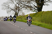 Motorcyclists on country road, Stow On The Wold, Oxfordshire, United Kingdom