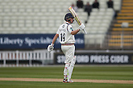 Yorkshire Gary Ballance gets his 50 during the Specsavers County Champ Div 1 match between Warwickshire County Cricket Club and Yorkshire County Cricket Club at Edgbaston, Birmingham, United Kingdom on 24 April 2016. Photo by Simon Davies.