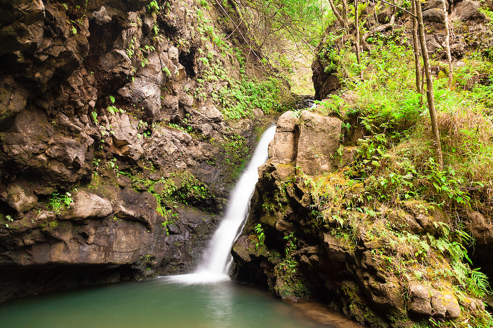 Waterfall at the end of right fork of the Makamakaole Trail (13 Crossings) on Maui, Hawai'i. Despite its beauty this waterfall gets overlooked often by the casual hiker.