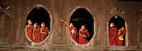 Myanmar (ex Birmanie) - Province de Shan - Lac Inle - Moines au monastère Shweyanpyay // Myanmar (Burma)- Shan province - Inle lake - Monks at the Shweyanpyay monastery