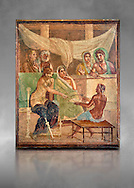 Detail of the Roman fresco wall painting of all the characters in the story of Admetus who, aided by Apollo made the Fates agree not to take Admetus on his 'death day' if he could find someone else to replace him, his wife, Alcestis, dies instead of Admetus but as she decends into the Underworld he discovers that he no longer wants to live without her, Pompeii House of the Tragic Poet, inv 9026, Naples National Archaeological Museum, grey art background .<br /> <br /> If you prefer to buy from our ALAMY PHOTO LIBRARY  Collection visit : https://www.alamy.com/portfolio/paul-williams-funkystock - Scroll down and type - Roman Fresco Naples  - into LOWER search box. {TIP - Refine search by adding a background colour as well}.<br /> <br /> Visit our ROMAN ART & HISTORIC SITES PHOTO COLLECTIONS for more photos to download or buy as wall art prints https://funkystock.photoshelter.com/gallery-collection/The-Romans-Art-Artefacts-Antiquities-Historic-Sites-Pictures-Images/C0000r2uLJJo9_s0