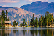 Lake Agness and tea house, Banff National Park, Alberta, Canada