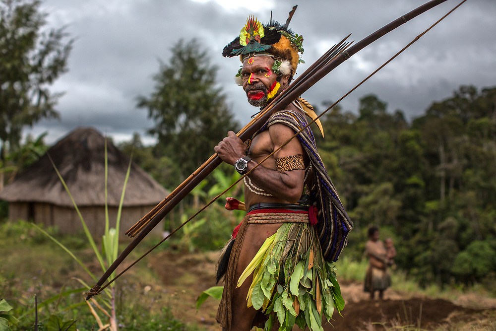 Portrait of a Huli Wigman in the Southern Highlands of Papua New Guinea.