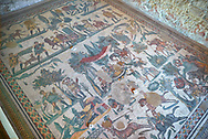 Wide picture of the Roman mosaics of the small hunt, room no 24 at the Villa Romana del Casale, first quarter of the 4th century AD. Sicily, Italy. A UNESCO World Heritage Site.<br /> <br /> The Small Hunt room was used as a living room for guests of the Villa Romana del Casale. The Small hunt mosaic design has 4 registers running across the mosaic depicting hunting scenes. In the first register two servants are handling hunting dogs. In the second register figures are depicted burning incense at an altar to Diana, the goddess of hunting, before the hunt starts. The offering is being made by Constantius Clorus , the Caesar of Emperor Maximianus who owned the Villa Romana del Casale. Behind him is his son the future Emperor Constantine. To the right of the altar is a figure holding the reins of a horse dressed in a clavi decorated with ivy leaves indicating that he belongs to the family of Maximianus. .<br /> <br /> If you prefer to buy from our ALAMY PHOTO LIBRARY  Collection visit : https://www.alamy.com/portfolio/paul-williams-funkystock/villaromanadelcasale.html<br /> Visit our ROMAN MOSAICS  PHOTO COLLECTIONS for more photos to buy as buy as wall art prints https://funkystock.photoshelter.com/gallery/Roman-Mosaics-Roman-Mosaic-Pictures-Photos-and-Images-Fotos/G00008dLtP71H_yc/C0000q_tZnliJD08