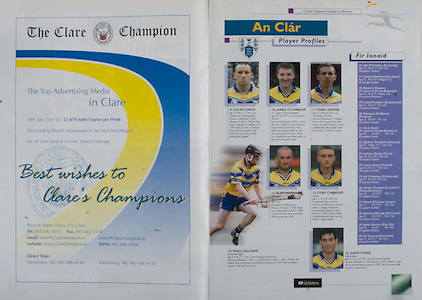 All Ireland Senior Hurling Championship Final,.08.09.2002, 09.08.2002, 8th September 2002,.Senior Kilkenny 2-20, Clare 0-19,.Minor Kilkenny 3-15, Tipperary 1-7,.8092002AISHCF,.The Clare Champion,